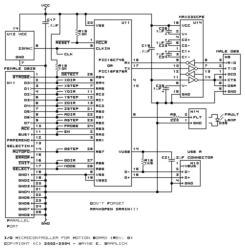 cnc controller motion schematics rev. d, schematic
