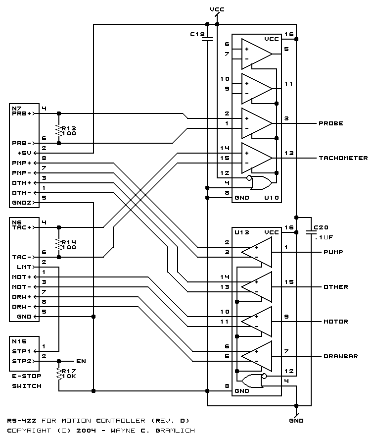 CNC Controller Motion Schematics (Rev. D) on cnc parallel port controller schematic, usb keyboard schematic, usb power supply schematic,