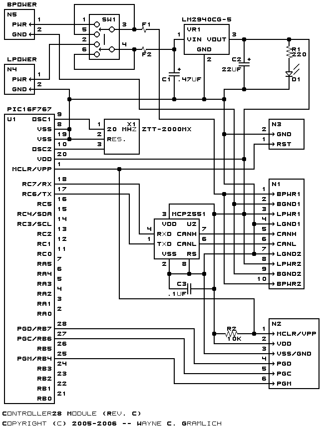 The schematic for the Controller28 module is shown below.  The parts list kept in a separate file. controller28.ptl.