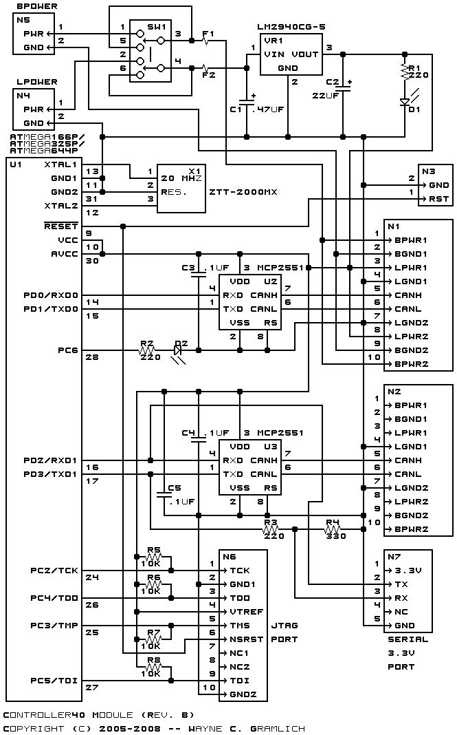 The schematic for the Controller40 module is shown below.  The parts list kept in a separate file. controller40.ptl.